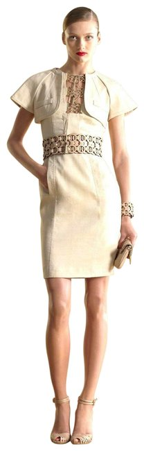 Item - Beige W Seam Cape W/Bamboo Tassel Gold Rings 40 263172 Mid-length Cocktail Dress Size 4 (S)