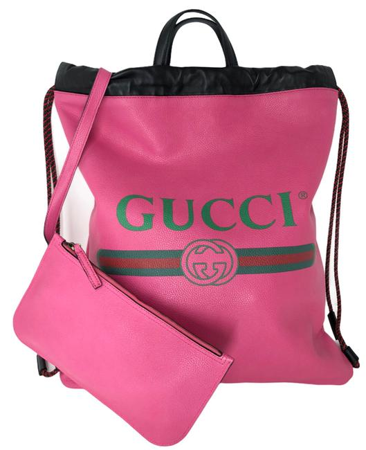 Item - Drawstring Logo Print Tote Pink Leather Backpack