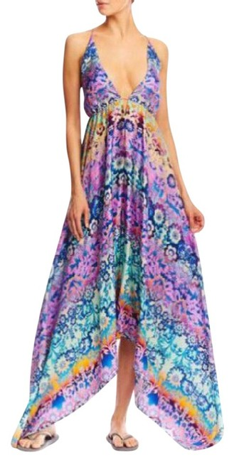 Item - Multicolor Artelier Silk Sunset Flowers Handkerchief Med Long Casual Maxi Dress Size 10 (M)