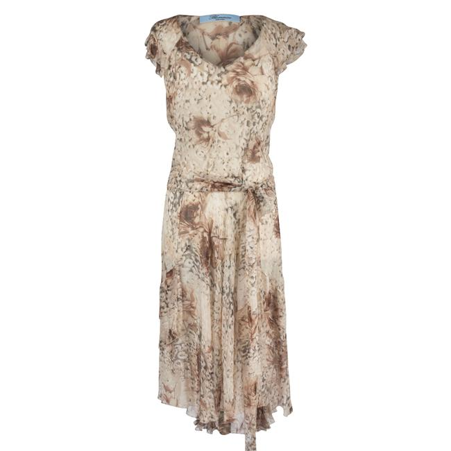 Item - Taupe Cream Grey W Prettiest Soft Print Silk Chiffon Slip 44 Fits Mid-length Cocktail Dress Size 8 (M)
