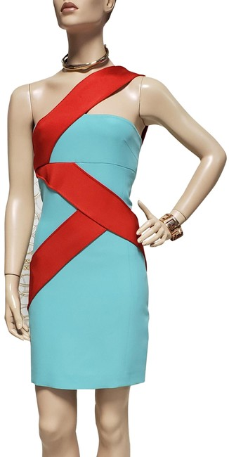 Item - Blue/Red S/S 2015 Look # 34 New and Silk-cady Mini 38 Short Cocktail Dress Size 2 (XS)