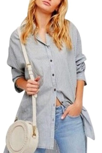 Item - Green White Stripe Oversized Button Front Shirt Med Button-down Top Size 8 (M)
