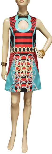 """Item - Multicolor S/2015 Look # 30 New """"Stained Glass Window"""" 38 - 4 Short Cocktail Dress Size 2 (XS)"""