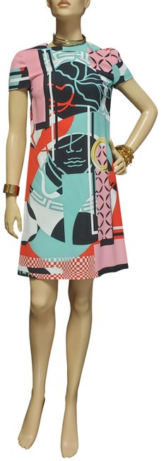 """Item - Multicolor S/2015 New Abstract Print """"Stained Glass Window"""" 38 - Short Cocktail Dress Size 4 (S)"""