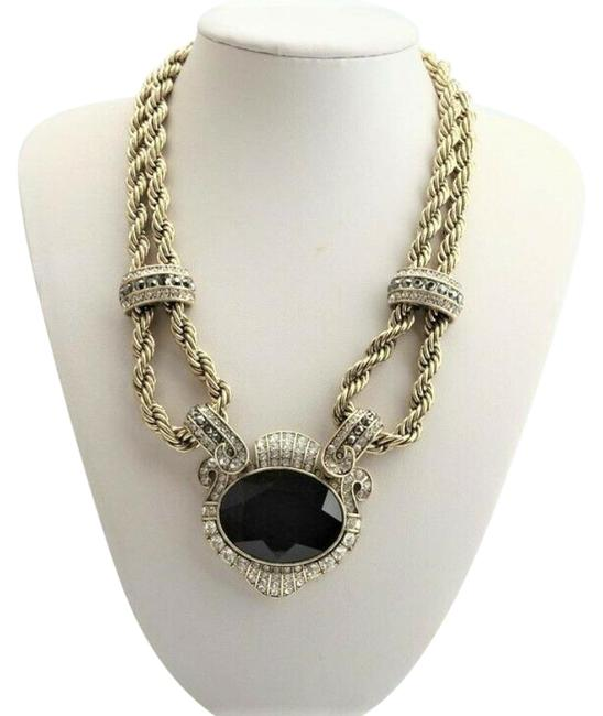 Item - Black/ Gold Chain Of Events Crystal Drop Necklace