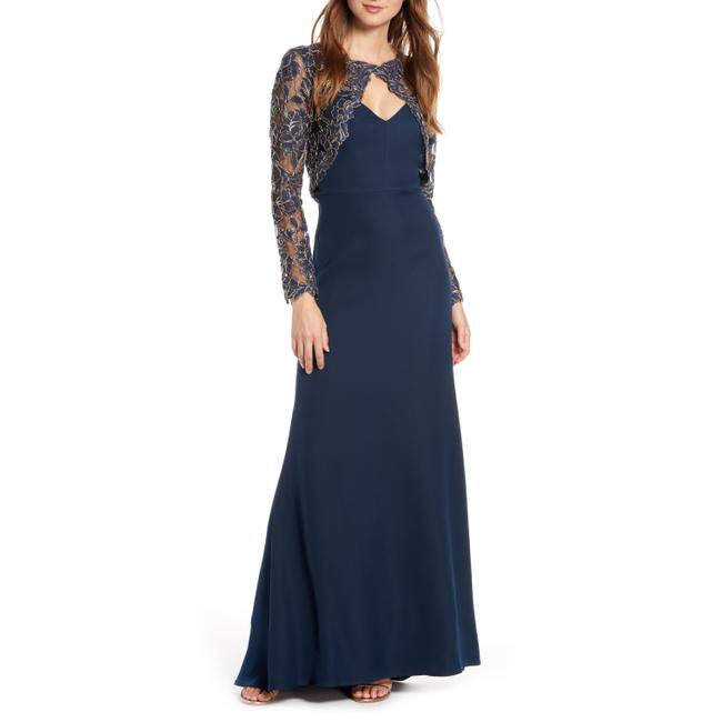 Item - Navy/Gold Darya Embroidered Crepe Lace Long Night Out Dress Size 10 (M)