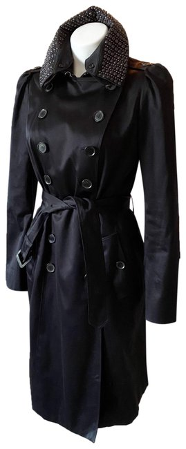 Item - Black Studded Collar Double Breasted Coat Size 8 (M)