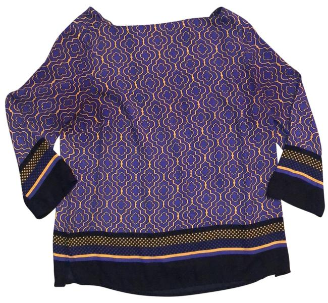 Item - Purple Gold and Black Pullover Zipper Blouse Size 4 (S)