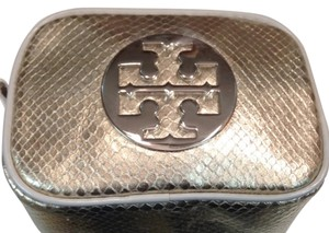 Tory Burch Metallic Silver Embossed Leather Make Up Case