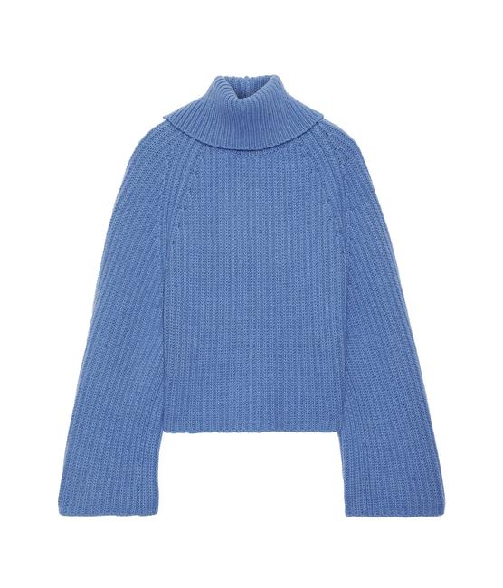 Item - Asymmetric Ribbed Wool and Cashmere-blend Turtleneck Light Blue Sweater