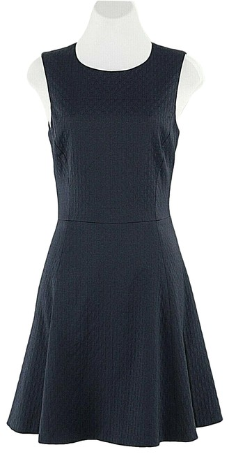 Item - Blue Lined Mid-length Short Casual Dress Size 6 (S)