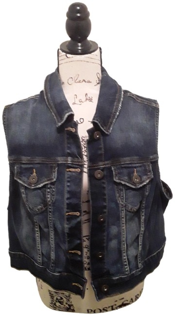 Item - Dark Blue Distressed Vest Size 20 (Plus 1x)