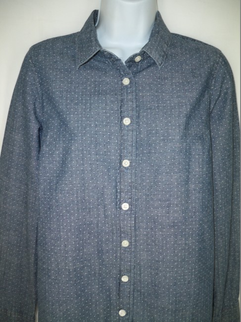 J.Crew Cotton Dotted Chambray Perfect Shirt Button Down Shirt