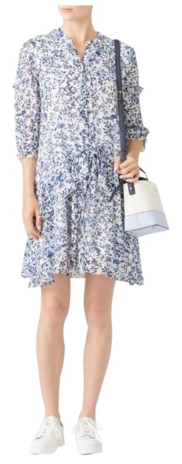 Item - White Blue Tilly Ruffle Silk Short Casual Dress Size 4 (S)