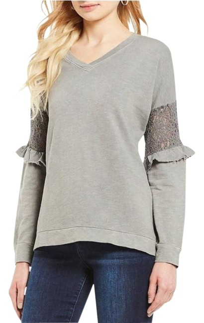 Item - Gray Lace Inset Sleeve High-low Sweatshirt/Hoodie Size 8 (M)