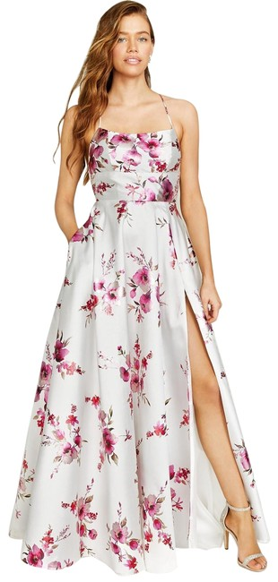 Item - Off White/Fuchsia Juniors' Strappy-back Foil-print Gown 15/16 Long Formal Dress Size 14 (L)