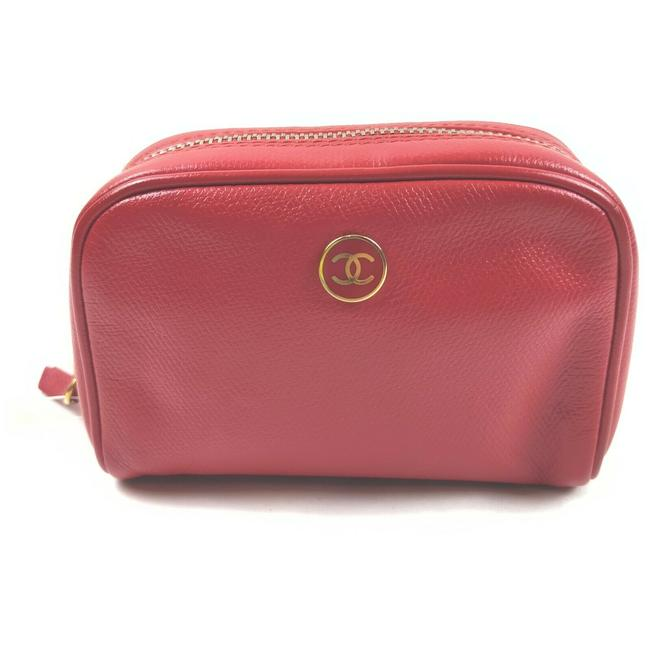 Item - Red Leather Button Line Make Up Pouch 861592 Cosmetic Bag
