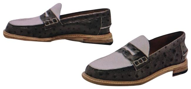 Item - Grey/ White Ostrich Embossed Loafer Flats Size US 9 Regular (M, B)