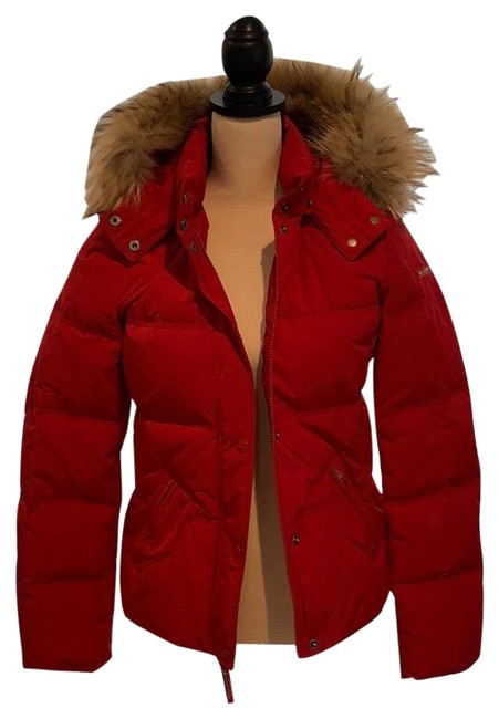 Item - Red Quilted Hooded Short Parka Coat Size 8 (M)