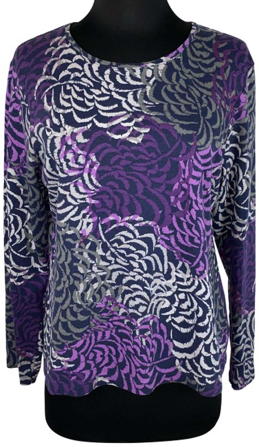 Item - Multicolor L Patterned Long Sleeve Cotton Casual Tee Shirt Size 12 (L)