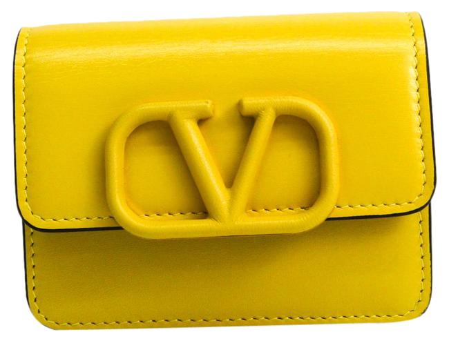 Item - Yellow V Sling Leather Card Case Wallet