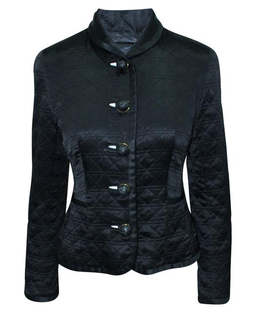 Item - Black Vintage Quilted Jacket with Golden Buttons Coat Size 4 (S)