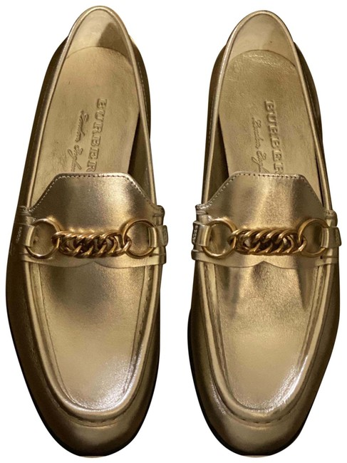 Item - Gold Solway Light Metallic Leather Chain Loafers Flats Size US 7.5 Regular (M, B)