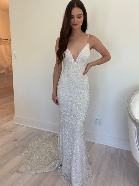 Item - Ivory Sequin Astor Gown By Sexy Wedding Dress Size 10 (M)