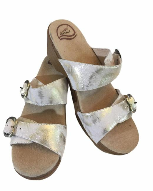 Item - White & Gold Double Strap Open Mules/Slides Size EU 41 (Approx. US 11) Regular (M, B)