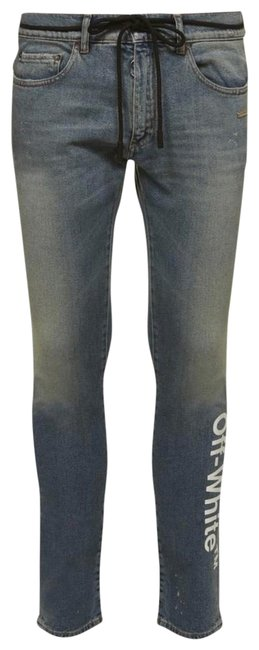 Item - Blue Light Wash Off-white Faded Logo Print Skinny Jeans Size 6 (S, 28)