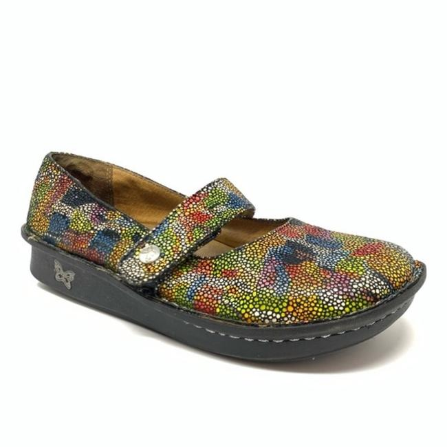 Item - Red Silver Feliz Mary Jane Painterly Abstract Mules/Slides Size US 6 Regular (M, B)
