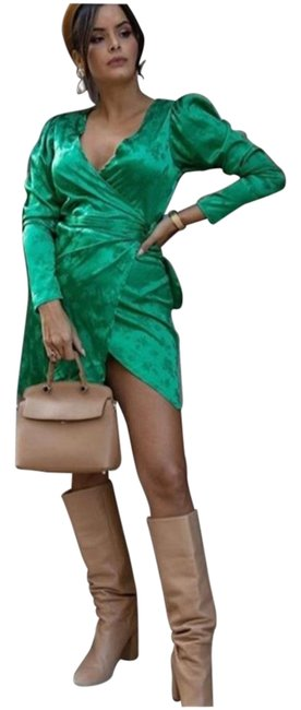Item - Green New Wrap Front Satin Effect Ref 2878/908 Short Cocktail Dress Size 8 (M)