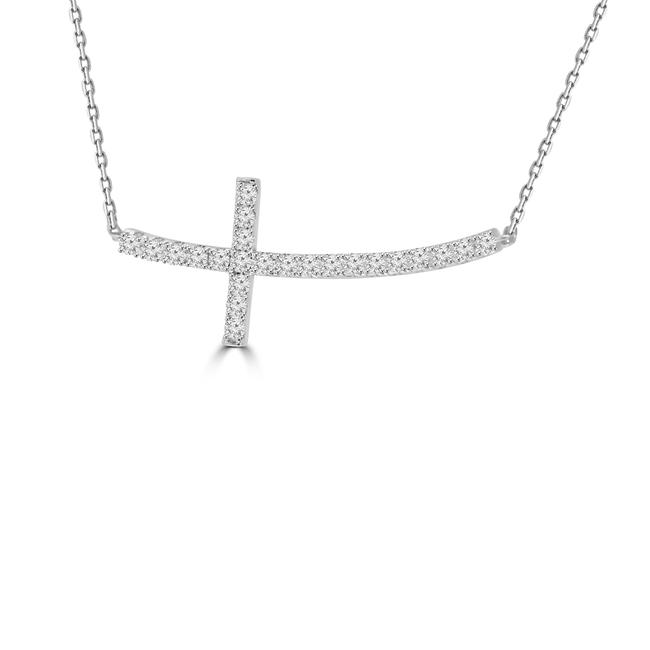 Item - White 0.60 Ct Ladies Gold Horizontal Curved Cross Necklace