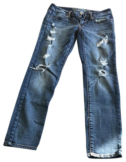 American Eagle Outfitters Blue Distressed Super Stretch Jeggings Size 6 (S, 28) American Eagle Outfitters Blue Distressed Super Stretch Jeggings Size 6 (S, 28) Image 1