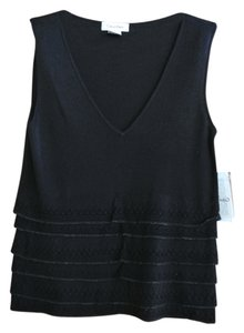 Calvin Klein Sleevless Knit With Ruffle Detail On Bottom Top Black