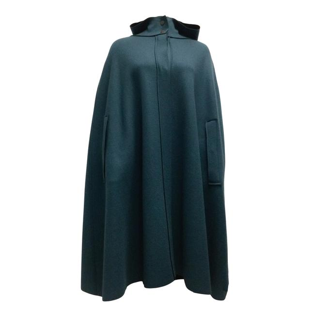 Item - Blue Cashmere Hooded Poncho/Cape Size OS (one size)