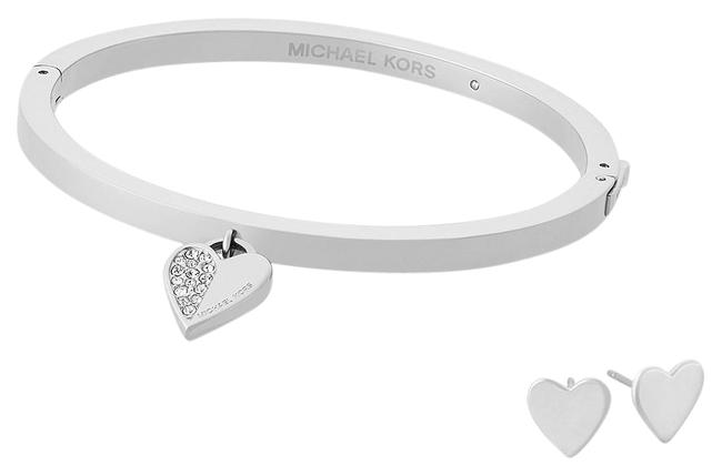 Item - Silver Mkj5938040 Heart Hinged Bangle and Stud Earrings Set