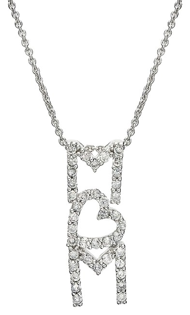 Item - Vertical Pave Crystal 'mom' Pendant Necklace
