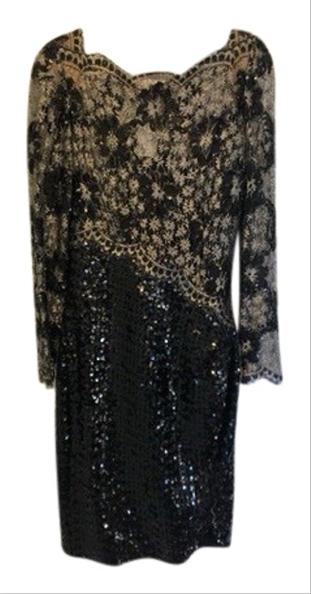 Item - Black and Silver Knee Length Mid-length Formal Dress Size 8 (M)