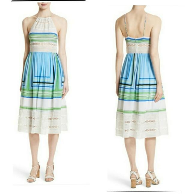 Item - Blue and White Brand Tracy Reese Striped Silk Midi Mid-length Formal Dress Size 12 (L)