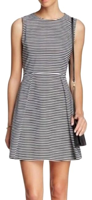Item - Black White Saturday Striped Cotton Fit & Flare Short Casual Dress Size 2 (XS)