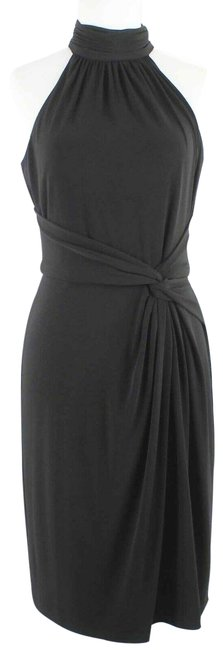 Item - Black Twist High Neck Mid-length Night Out Dress Size 6 (S)