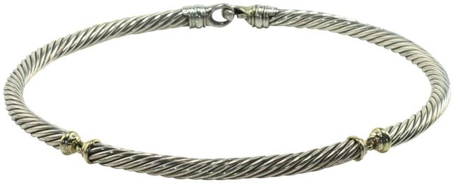 Item - Steel/Gold 7mm Two Tone Metro Cable Necklace