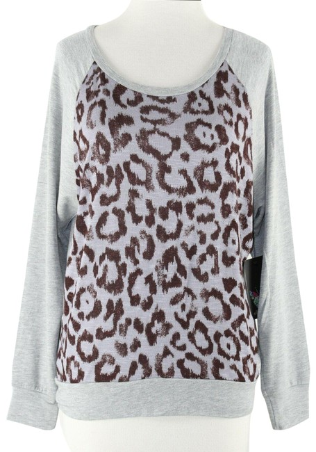 Item - Animal Print Gray Lavender Brown Sweater