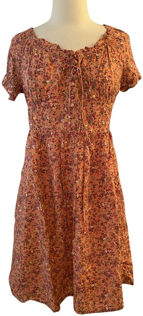 Item - Peach Multi Puff-sleeve Peasant In Soft Rayon. Short Casual Dress Size 8 (M)