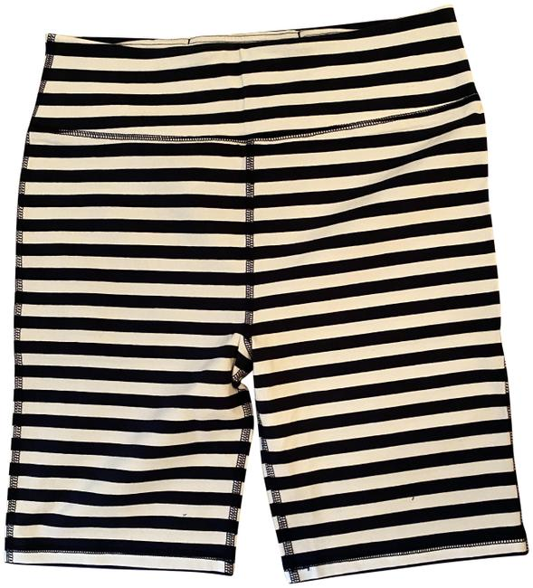 Item - Navy White L Biker Leggings In Stripe. L. Color: Activewear Bottoms Size 12 (L, 32, 33)