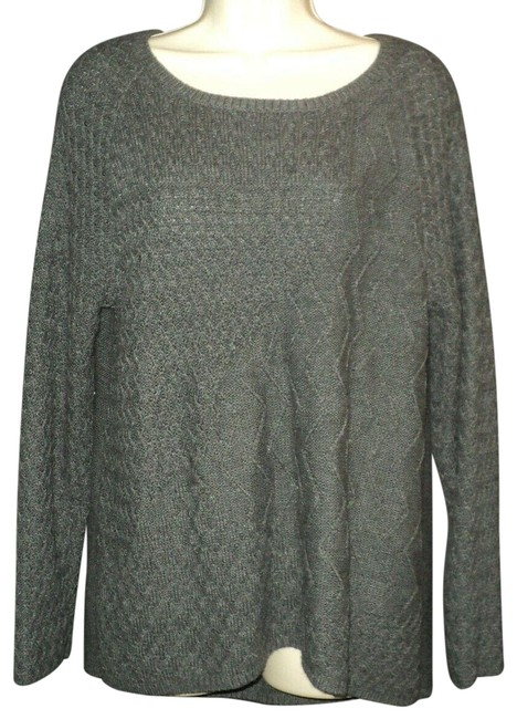 Item - Zig-zag Knit On Sleeves and Front Back Partial Zipper Gray Sweater