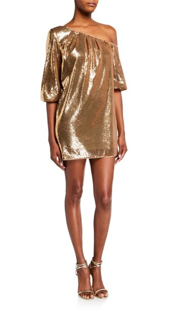 Item - Gold Sequin Cold-shoulder Mini Short Cocktail Dress Size 2 (XS)