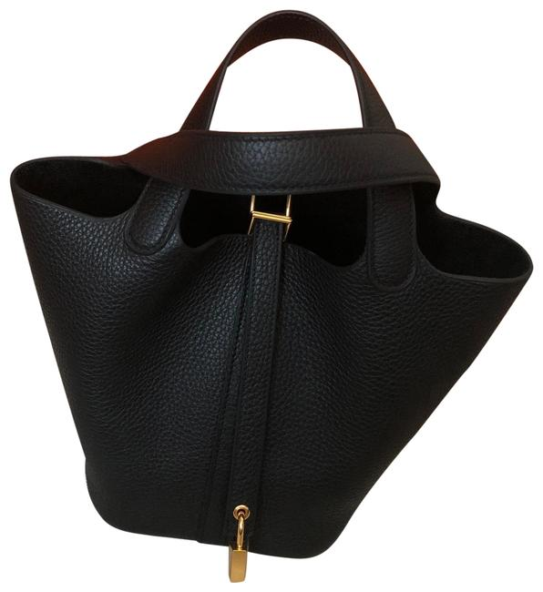 Item - Picotin 18 with Gold Hardware Black Taurillon Leather Tote