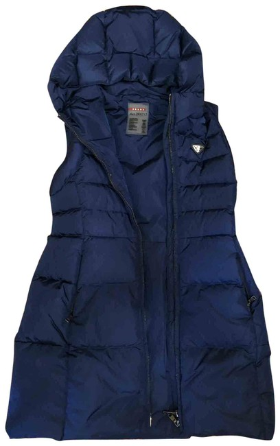 Item - Dark Blue Puffer Best with Hat Knee Long Coat Size 4 (S)